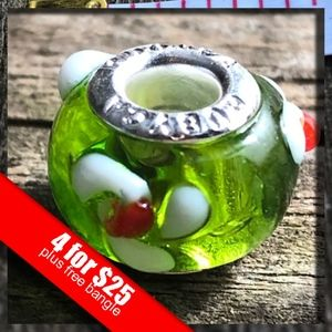 Silver Color Murano Glass Beads Fit European Charm